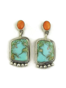 Kingman Turquoise & Spiny Oyster Shell Earrings by Geneva Apachito (ER4036)