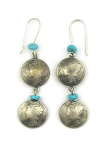 Liberty Coin Turquoise Earrings by James McCabe
