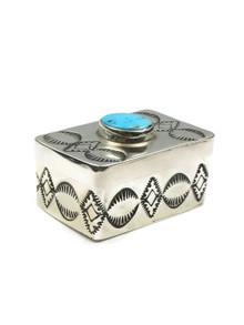Handmade Silver Turquoise Box by Elvira Chavez (B20)
