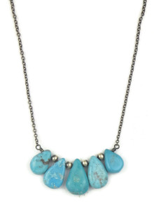 Silver Turquoise Tab Necklace (NK4627)