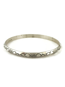 Hand Stamped Silver Bangle Bracelet by Elaine Tahe (BR6109)