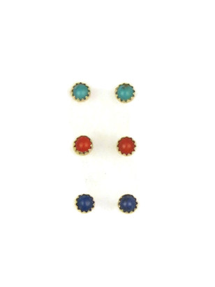 3 Pack Special-Turquoise, Coral & Lapis Stud Earrings
