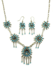 Turquoise Needle Point Cluster Necklace Set by Keith Leekity (NK4532)