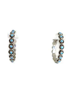 Turquoise Hoop Earrings by Florenda Lonasee