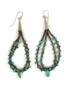 Turquoise Beaded Double Loop Earrings by Cheryl Lucero (ER4119)