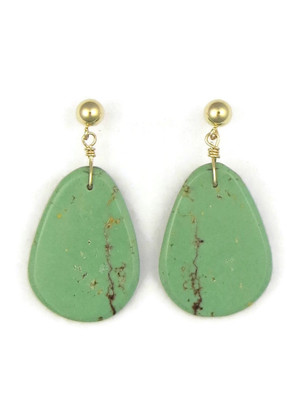 14k Gold Turquoise Slab Earrings by Ronald Chavez (ER4145)
