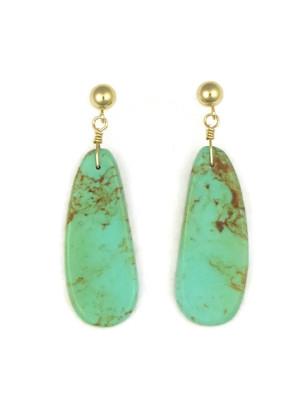14k Gold Turquoise Slab Earrings by Ronald Chavez (ER4146)