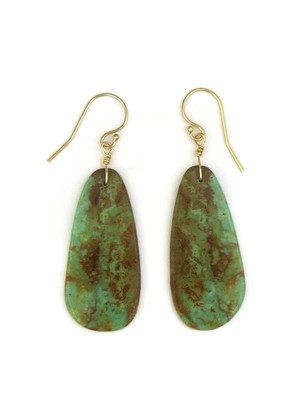 14k Gold Turquoise Slab Earrings by Ronald Chavez (ER4147)