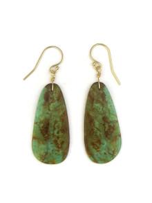 14k Gold Turquoise Slab Earrings by Ronald Chavez (ER4147)