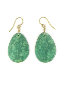 14k Gold Turquoise Slab Earrings by Ronald Chavez (ER4148)