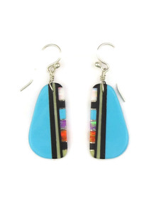 Turquoise & Gemstone Inlay Slab Earrings by Ronald Chavez (ER4152)
