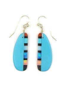 Turquoise & Gemstone Inlay Slab Earrings by Ronald Chavez (ER4153)