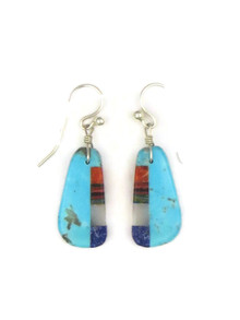 Turquoise & Gemstone Inlay Slab Earrings by Ronald Chavez (ER4155)