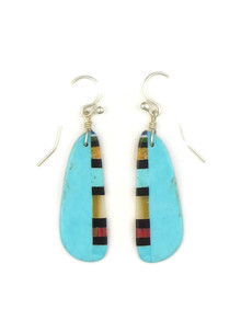 Turquoise & Gemstone Inlay Slab Earrings by Ronald Chavez (ER4156)