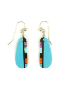 Turquoise & Gemstone Inlay Slab Earrings by Ronald Chavez (ER4159)