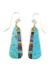 Turquoise & Gemstone Inlay Earrings by Ronald Chavez (ER4161)