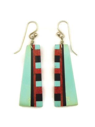 Turquoise & Gemstone Inlay Slab Earrings by Ronald Chavez (ER4162)