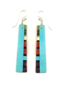 Turquoise & Gemstone Inlay Earrings by Ronald Chavez (ER4163)