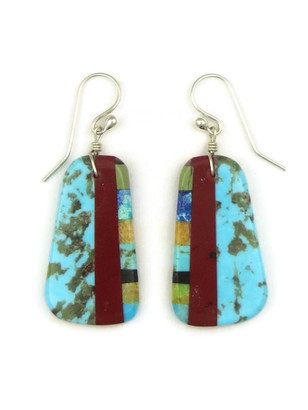Turquoise & Gemstone Inlay Slab Earrings by Ronald Chavez (ER4164)