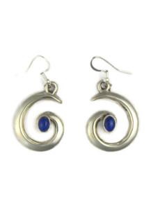 Lapis Silver Swirl Earrings by Mildred Parkhurst (ER4180)