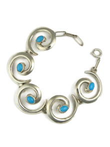 Sleeping Beauty Turquoise Silver Swirl Link Bracelet by Mildred Parkhurst