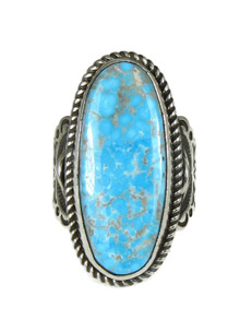 Kingman Turquoise Ring with Angels Size 8 1/2 by Albert Jake