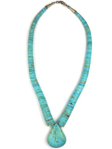 Turquoise Heishi Tab Necklace by Lupe Lavato (NK2800)