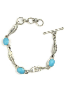 Turquoise Mountain Silver Feather Link Bracelet (BR4330)
