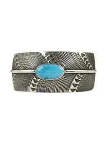 Kingman Turquoise Silver Feather Cuff Bracelet by Raymond Coriz