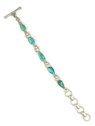 Turquoise Mountain Link Bracelet by Lyle Piaso (BR6114)
