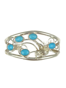Sleeping Beauty Turquoise Silver Filigree Bracelet (BR6115)