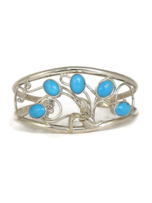 Sleeping Beauty Turquoise Silver Filigree Bracelet (BR6116)