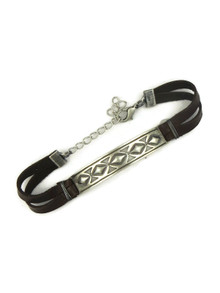 Hand Stamped Silver Leather Bracelet by Raymond Coriz (BR6117)