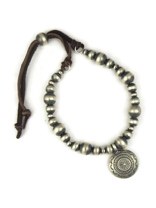 Silver Bead Concho Leather Bracelet