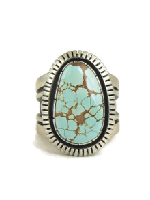 Number 8 Turquoise Ring Size 8 1/2 by Cooper Willie (RG5037)
