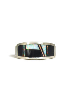 Jet & Opal Inlay Band Ring Size 9 (RG5046)