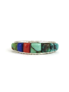 Turquoise, Coral & Lapis Sculpted Inlay Band Ring Size 8 3/4 (RG5053)