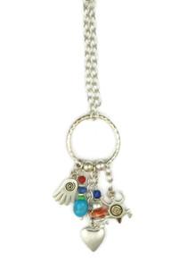 Multi Gemstone Charm Pendant Necklace (NK4533)