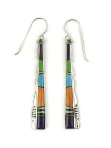 Multi Gemstone Inlay Earrings by Calvin Begay (ER4182)