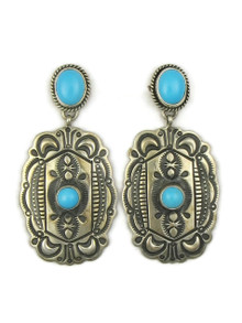 Sleeping Beauty Turquoise Concho Earrings by Darryl Becenti (ER4194)