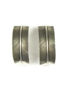 Silver Feather Hoop Earrings (ER4199)