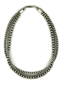 Three Strand Silver Bead Necklace (NK4535)