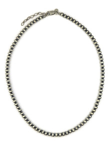 "Antiqued 5mm Silver Bead Necklace 18"" with Extension Chain"