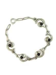 Onyx Silver Swirl Link Bracelet