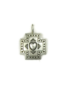Silver Cross Heart Charm (PD4067)