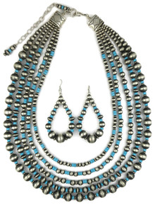 Five Strand Graduated Turquoise & Silver Bead Necklace Set