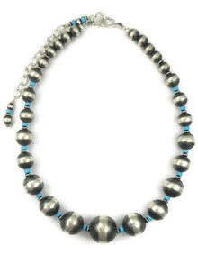Turquoise & Silver Graduated Bead Necklace