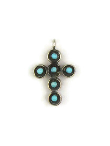 Reversible Turquoise & Coral Cross Pendant by Fernando Sanchez