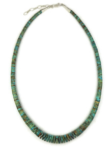 Turquoise Heishi Necklace with Extension Chain by Ronald Chavez (NK4347)