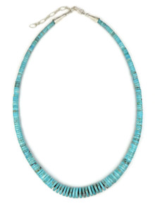 Turquoise Heishi Necklace with Extension Chain by Ronald Chavez (NK4348)